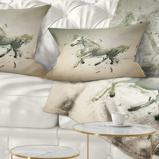White Horse East Urban Home in Motion on Brown Animal Lumbar Pillow East Urban Home