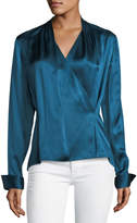 Elie Tahari Shelly Long-Sleeve Surplice Silk Satin Blouse