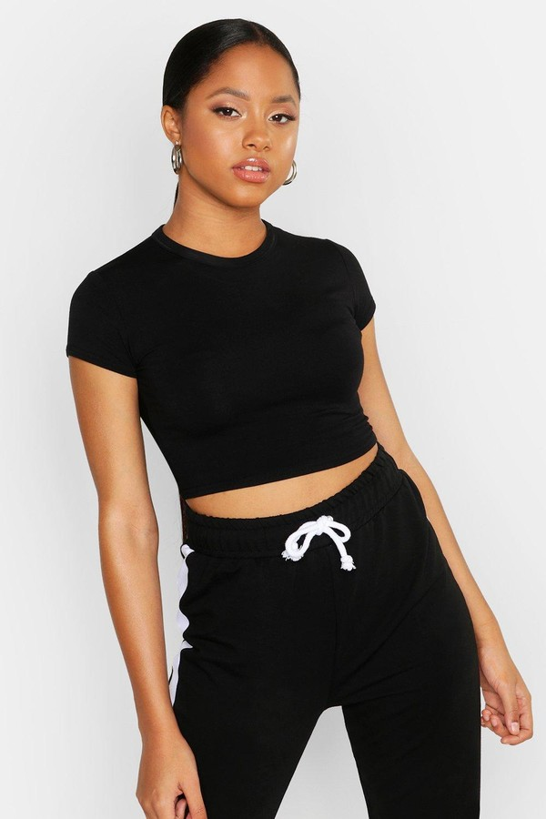 boohoo Cropped Capped Sleeve T-Shirt
