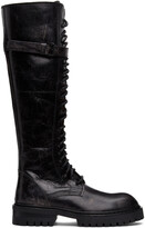 Thumbnail for your product : Ann Demeulemeester SSENSE Exclusive Black Foil Scrub Lace-Up Boots