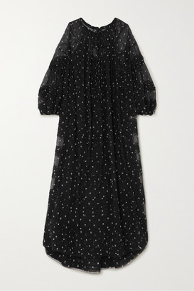 Lee Mathews Hattie Ruffled Floral-print Silk-chiffon Maxi Dress - Black