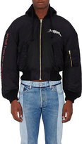 Vetements Men's Embroidered Tech-Twill Shrunken Bomber Jacket-BLACK