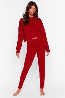 Nasty Gal Womens At My Knits End Hoodie and Joggers Lounge Set - Orange - M