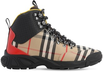 Burberry Check Cotton & Leather High Top Sneakers