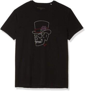 John Varvatos Men's Short Sleeve Crew TEE-Skull TOP HAT
