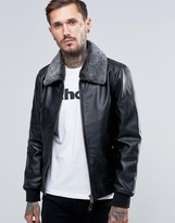Schott Leather Flight Jacket Detachable Faux Fur Collar
