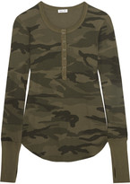 Splendid Camouflage-print Stretch Supima Cotton And Modal-blend Top - Army green