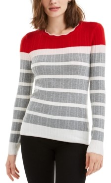 Maison Jules Striped Colorblocked Sweater, Created for Macy's