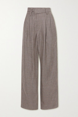 Brunello Cucinelli Pleated Houndstooth Linen, Wool And Silk-blend Wide-leg Pants - Brown