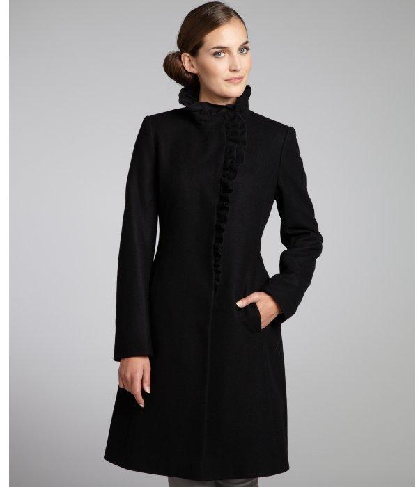 DKNY black wool blend ruffle front coat