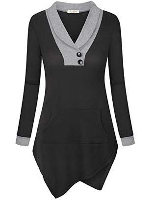Cyanstyle Women Long Sleeve Sweatshirts V Neck Button Asymmetrical Hem Blouses Tops with Procket L