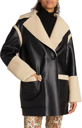 Proenza Schouler White Label Reversible Faux-Leather Sherpa Coat