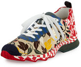 Fendi Chameleon Floral-Print Canvas Sneaker, Multi