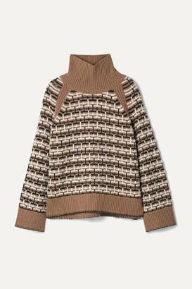 By Malene Birger Lygos Intarsia Merino Wool-blend Turtleneck Sweater - Light brown