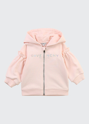 Givenchy Girl's Foiled Logo Hooded Zip-Up Jacket, Size 12M-3