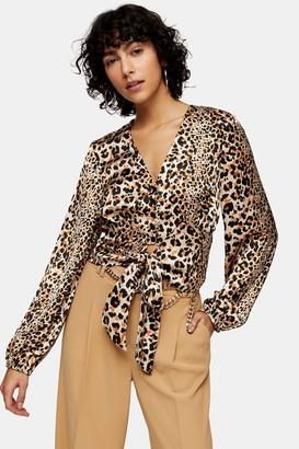 Topshop Womens Animal Print Frill Tie Blouse - Natural