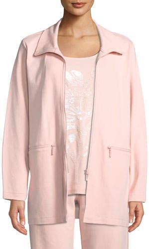 Joan Vass Petite Mock-Neck Long-Sleeve Zip-Front Stretch Interlock Jacket w/ Zip Pockets