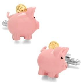 Cufflinks Inc. 3D Piggy Bank Cufflinks