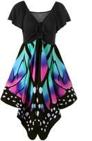FOUNDO Women's Butterfly Shape Short Sleeve Empire Waist Casual Skater Dress M