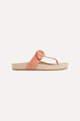 Loeffler Randall Adriana Bow-detailed Suede Sandals - Blush