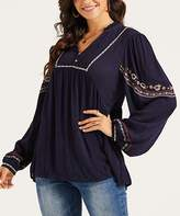 Suzanne Betro Weekend Women's Tunics 102NAVY - Navy Embroidered Puff-Sleeve Babydoll Tunic - Women