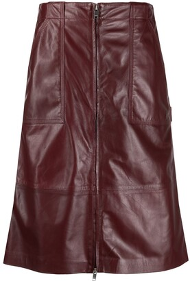 Ambush Leather Zipped High-Waisted Skirt
