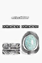 Boohoo Orla Mixed Size Stone Set Ring Pack