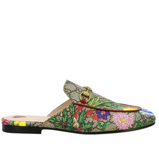 Gucci Princetown Flora Slipper In Gg Supreme Leather With Clamp