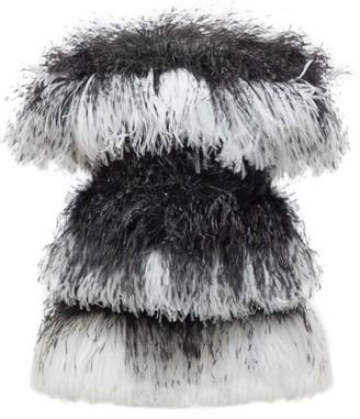 Saint Laurent Off-the-shoulder Striped Feather Mini Dress - Womens - Black White