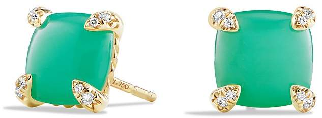 David Yurman Ch'telaine Earrings with Chrysoprase and Diamonds in 18K Gold