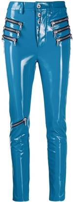Unravel Project triple zip latex trousers