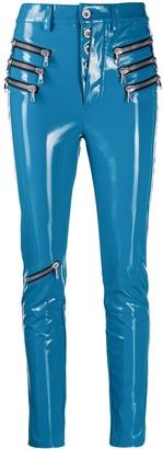 Unravel triple zip latex trousers