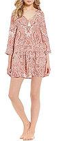 Lucky Brand Paisley Challis Drop-Waist Nightgown