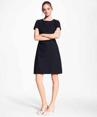 Brooks Brothers Stretch-Cotton Jacquard Shift Dress