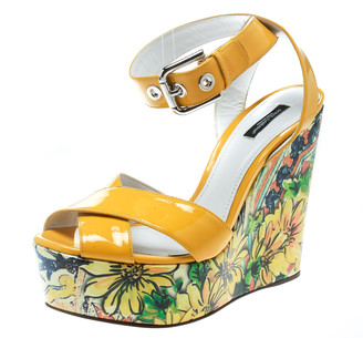 Dolce & Gabbana Yellow Patent Leather Floral Printed Wedge Ankle Strap Sandals Size 40.5