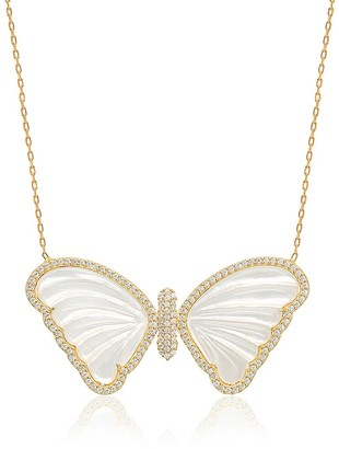 GABIRIELLE JEWELRY 14K Gold Vermeil, Freshwater Pearl Micropave Butterfly Necklace