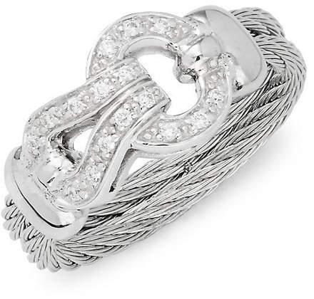 Alor 18K White Gold Stainless Steel & Diamond Ring