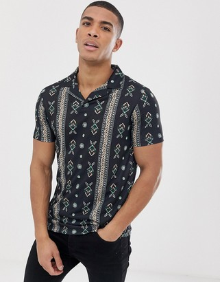 Asos Design DESIGN polo with all over paisley print and revere collar-Black