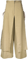 G.V.G.V. lace up layered wide trousers - women - Cotton/Nylon - 36
