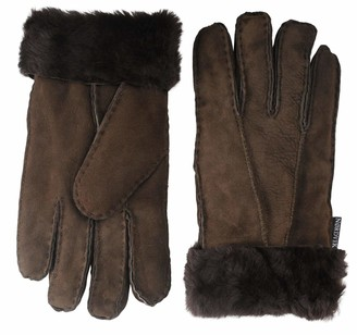 Nordvek Womens Sheepskin Gloves - Fold Back Cuff - Suede # 301-100 [Chocolate] [Large - 8]
