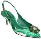 Dolce & Gabbana 60mm Leaf Printed Satin Slingback Pumps