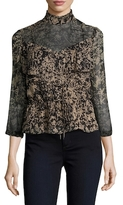 Tracy Reese Victorian 3/4 Sleeve Silk Printed Top