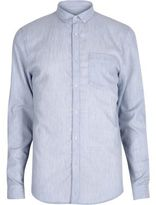 River Island MensBlue melange waffle shirt