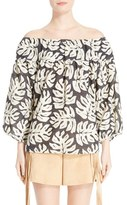 Chloé Women's Palm Print Off The Shoulder Blouse