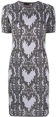 Love Moschino Heart Print Fitted Dress