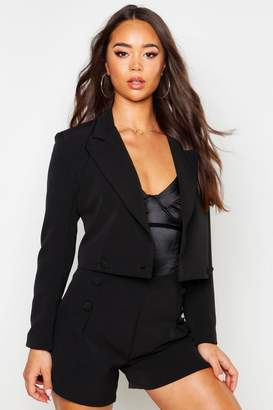 boohoo Cropped Covered Button Double Breasted Blazer