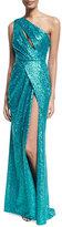 Elie Saab Sequined Drape-Front One-Shoulder Gown, Blue