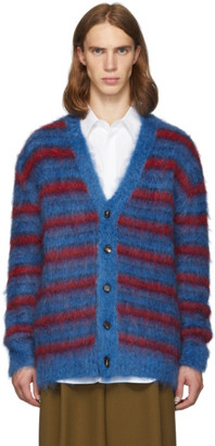 Marni Blue and Red Mohair Cardigan