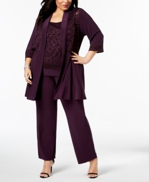 R & M Richards Plus Size Embellished Lace Jacket, Top & Pants