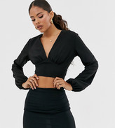 John Zack Tall wrap front open back crop top in black